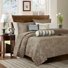 BEAUTIFUL MODERN ELEGANT BROWN TAUPE BLUE IVORY SILVER GREY SCROLL QUILT SET NEW image