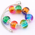Lots 5/20Pcs Mixed Czech Glass Oval Loose Big Hole Charm Spacer Beads 14x11mm