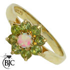 BJC® 9ct Yellow gold Peridot & Opal Cluster size K engagement ring R145