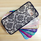 For Samsung Galaxy S4 S5 S6 S7 Note4 5 Rubberized Damask Pattern Matte Hard Case