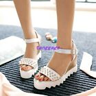 Fashion Womens Rivets Punk Slingbacks Buckles Stud Wedge High Heel Sandal Shoes