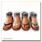 NEW  WOMEN FASHION SUMMER MULTI COLOR BEADED T-STRIP SANDALS /195-9