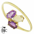 BJC® 9ct Yellow gold Opal & Amethyst 3 Stone size O engagement ring R240
