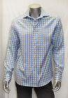 Men's RUFUS Plaid Lt.Blue/White Button Down Shirts 100% Cotton Size Medium