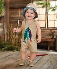 Mud Pie Gone Fishin' Collection Faux Linen Fish Shortall