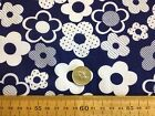 GORGEOUS NAVY & WHITE FUNKY FLORAL RETRO LARGE FLOWERS  POLY COTTON POLY FABRIC