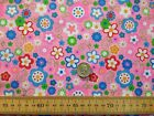 FUNKY FLOWER POWER HIPPIE RETRO - PINK BACK - SMALL FLOWERS - POLYCOTTON FABRIC