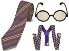 BOY GIRLS HARRYS HOGWARTS FANCY DRESS TIE BRACES GLASSES WIZARDS POTT SCHOOL SET