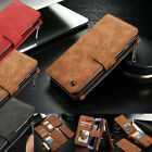 Genuine Leather Case Magnetic Zipper Wallet Card Cover For iPhone 8 6S & 7 Plus