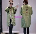 Fashion Womens Casual European Army Long JACKETS Baseball Trench Coat Outwear
