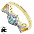 BJC® 9ct Yellow gold Blue Topaz & Diamond Cross Over size O engagement ring R200