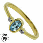 BJC® 9ct Yellow gold Blue Topaz & Diamond Trilogy size L engagement ring R206