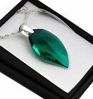 925 Silver Necklace made with Swarovski Crystals * Emerald * Leaf 26/40