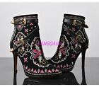 Womens Embossed Strap Suede Leather High Heel Pointy Toe Ankle Boot Shoes US 5-9