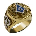 Masonic Ring Freemasonry Men Unique craftsmanship 18k Yellow Gold Plated  New