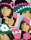 2 Boutique Custom Crochet Girls Beanie Hat ages 3-10* Pink White*Black Neon Pink