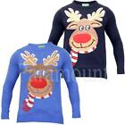 Chritsmas Reindeer Crew Neck Novelty Jumper   Mens Size