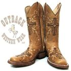 Circle G by Corral Women's Antique Saddle Cross Stitched Square Toe Boots L5086