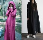 lady summer Casual hooded Gown Caftan Maxi Plus Cotton Linen Long Sleeve Dress