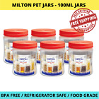 100ML PET PLASTIC CLEAR JAR CONTAINER STORAGE COSMETIC OIL CREAM FOOD RED LID