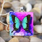 """VIBRANT BUTTERFLY"" BLUE BUTTERFLY SUMMER GARDEN GLASS PENDANT NECKLACE KEYRING"