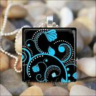 """FLORAL DAMASK ART"" CHOOSE BLUE PINK OR BLACK AND WHITE GLASS PENDANT NECKLACE"
