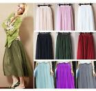 Double Layer Tulle  Retro Long Maxi Elastic Waist Skirt Candy Dress-  Large