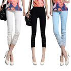Casual Slim Fit Stretch Skinny Button Leggings Pencil Cropped Trousers Women New