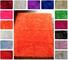 MONGOLIAN NON SLIP RUBBER BACK FAUX FUR RUG 142CM X 200CM 14 COLOURS UK MADE