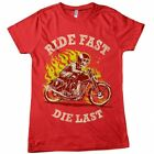 RIDE FAST DIE LAST CUSTOM MOTORCYLCLE DTG FULL COLOR RED T SHIRT