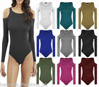 Ladies Women's Shoulder Cut Out JERSEY Stretchy Long Sleeve Bodysuit Leotard Top