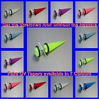 Fake UV Glow Cheater Tapers Earrings available in 7 colours Bar Gauge 1.2mm