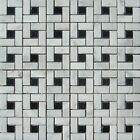 "Pinwheel 12""x12"" Carrara White and Black Dot Polished Mosaic ($15.00 per Sheet)"