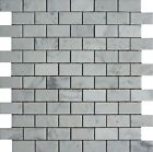 "White Carrara 1""x2"" Brick Italian Marble Honed Mosaic. ($11.00 Per Sheet)"