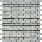 "White Carrara 1 1/4""x5/8"" Mini Brick Marble Honed Mosaic. ($12.00 Per Sheet)"