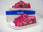 New Toddler Girl Canvas Low -Top Athletic Shoe (Fushia - Sealife ) Sizes 8 and 9