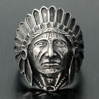 Vintage Antique Men's Large Apache Indian Chief Head Stainless Steel Biker Ring