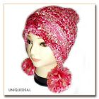 NEW FASHION WOMEN WINTER BEANIE KNITTED Snow Ball Hat Multi Color / PINK -A33