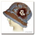New Fashion WOMEN CROCHET CHEMO WINTER HAT BEANIE W FLOWER PIN /BLUE Q148