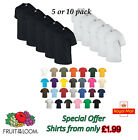 Fruit of the Loom T Shirts White 5 Pack Plain Mens Cotton Pack of 5 Wholesale