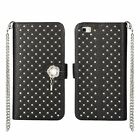 Bling Crystal Flip Leather Wallet Case Cover w/Strap Fr Huawei Ascend P8 Lite/P9