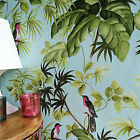 'birds On Palms' Palm Leaf Floral And Bird Design Wallpaper Pastel Blue & Green