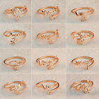 Stainless Steel 14K Rose Gold  Fashion 12 Zodiac Signs Womens Ring Jewelry Gift