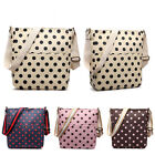 Women Messenger Cross Body Shoulder Handbag Tote Satchel Bag Polka Dots Oilcloth