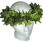 HAWAIIAN SILK GREEN LEATHER FERN LEAF HEAD LEI HAKU LUAU HULA WEDDING HATBAND