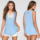 Women Sexy Square Neck Sleeveless Lace Splicing Pullover Tank Top Blouse T Shirt