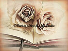 Roses Book Cream Mauve Library Bedroom Art Home Decor Matted Picture Usa A113
