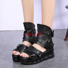 Gladiator Womens Black High Platform Sandals Ankle Boots Roman Creepers Shoes SZ