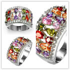 women fashion jewelry  925 silver  Multicolor zircon wedding ring size 6-10