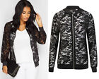New Womens Ladies Long Sleeve Zip Front Floral Lace Biker Look Bomber Jacket Top